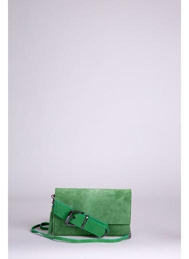 GIZIA Püskül Detaylı Yeşil Deri El Çantası Yeşil